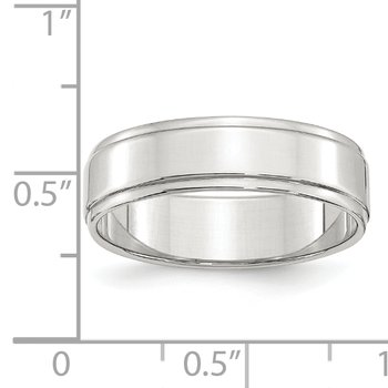 SS 6mm Flat w/ Step Edge Size 10 Band