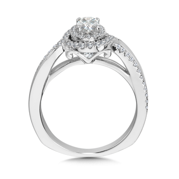 Halo Engagement Ring Mounting in 14K White Gold (.36 ct. tw.)