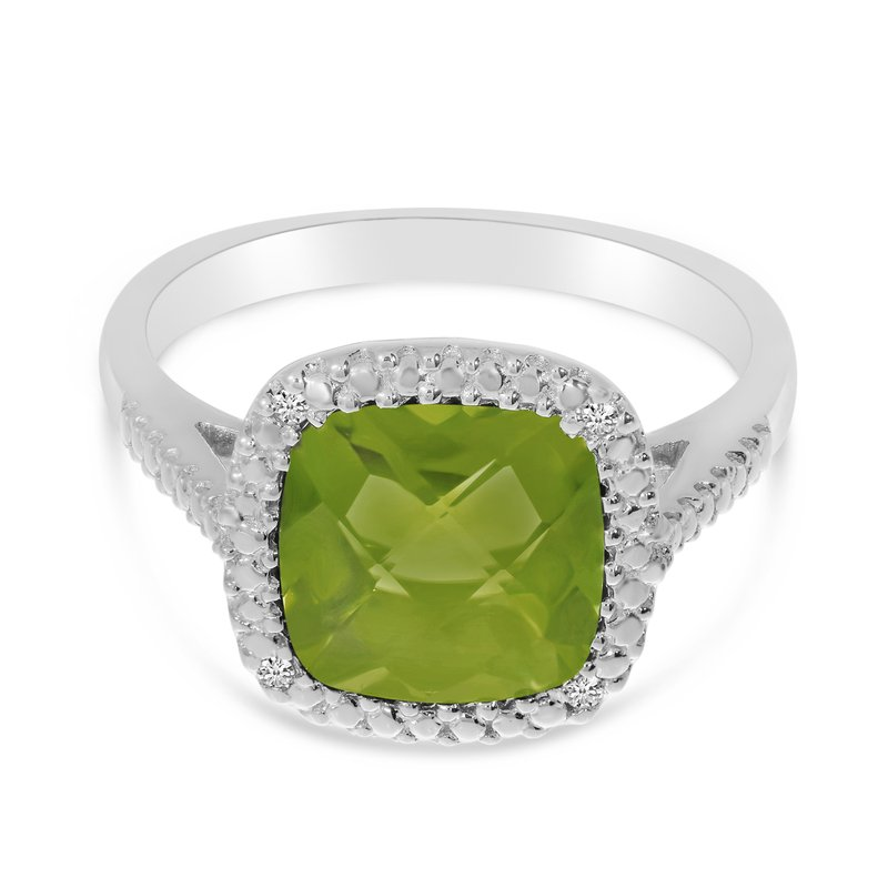 Color Merchants 14k White Gold Cushion Cut Peridot And Diamond Ring
