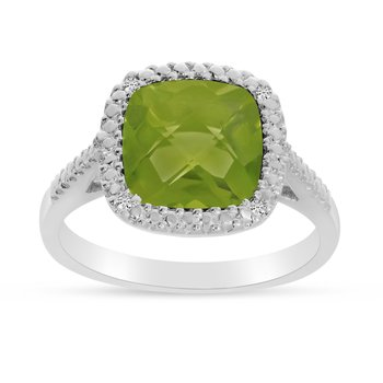 14k White Gold Cushion Cut Peridot And Diamond Ring