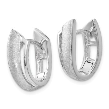 Leslie's Sterling Silver Rhodium-plated Textured Hoop Earrings