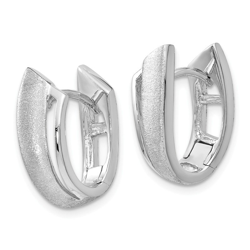 Leslie's Leslie's Sterling Silver Rhodium-plated Textured Hoop Earrings