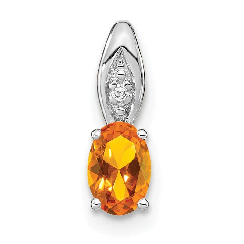 Quality Gold 14k White Gold Citrine and Diamond Pendant