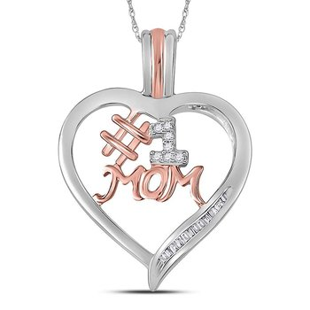 Sterling Silver Womens Round Diamond Rose-tone #1 Mom Mother Heart Pendant 1/12 Cttw