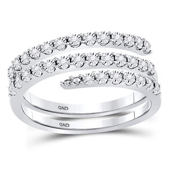 Sterling Silver Womens Round Diamond Triple Strand Wrap Band Ring 1/10 Cttw