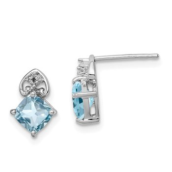 Sterling Silver Rhodium Plated Dia. Lt Swiss Blue Topaz Post Earrings
