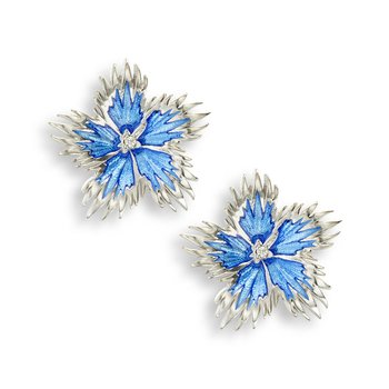Blue Rock Flower Stud Earrings.Sterling Silver-White Sapphires