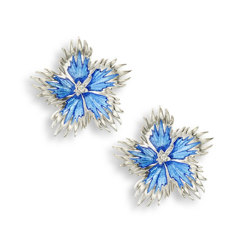 Nicole Barr Designs Blue Rock Flower Stud Earrings.Sterling Silver-White Sapphires