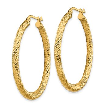 14k 3x30mm Diamond-cut Round Hoop Earrings