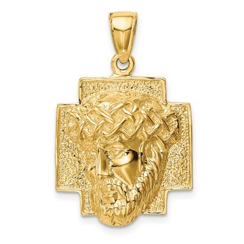 14K Gold Polished Large Jesus Head With Crown Pendant