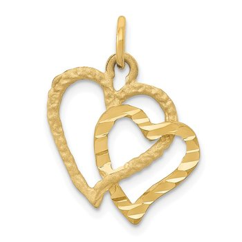 14K Polished and Textured Double Heart Pendant
