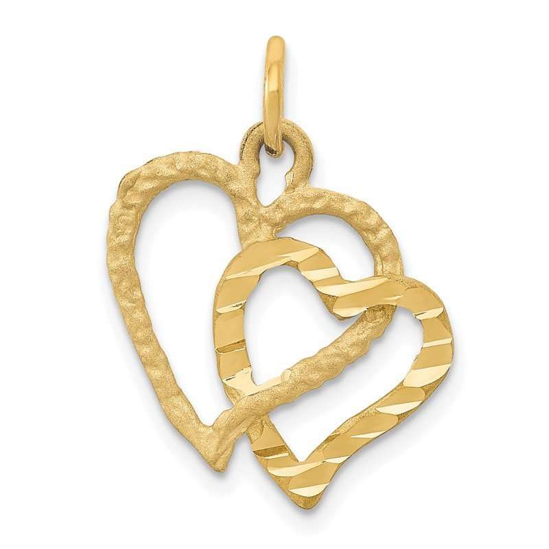Quality Gold 14K Polished and Textured Double Heart Pendant