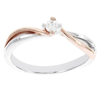 10k White and Rose Gold 1/10ct TDW Diamond Solitaire Promise Ring