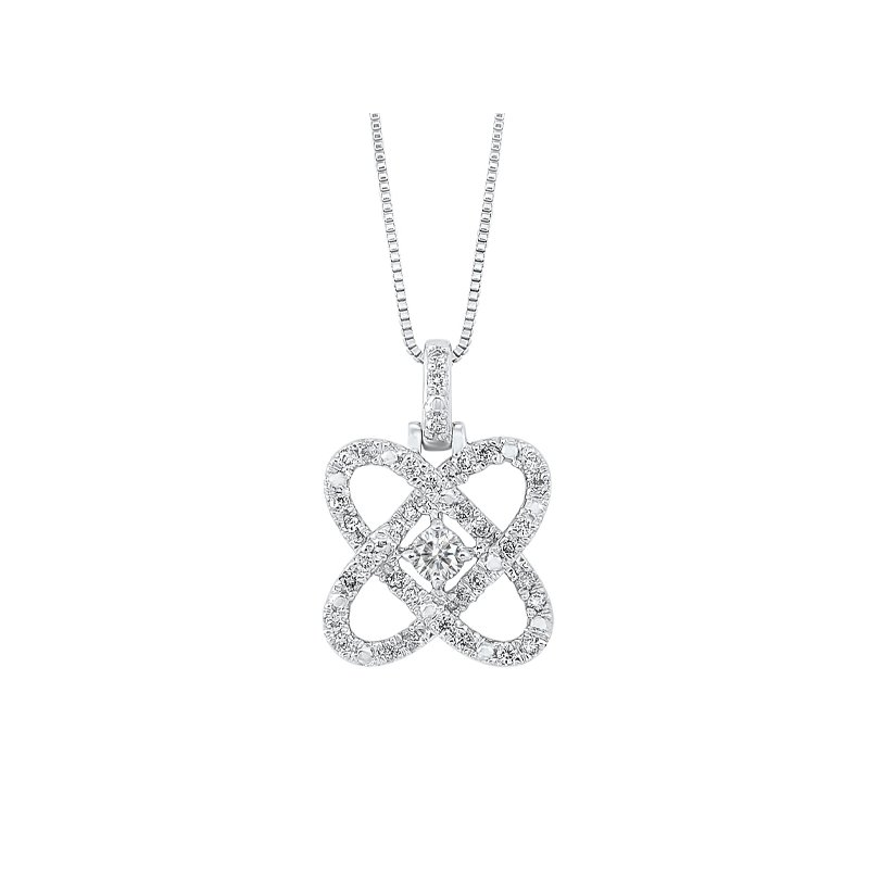 Gems One Diamond Infinity Love Heart Knot Pendant Necklace in 14k White Gold (1/4ctw)