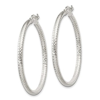 Sterling Silver Polished 2.5mm Diamond-cut Hoop Earrings