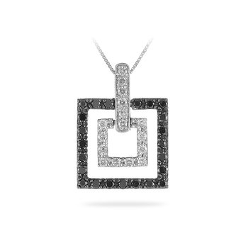 14K WG Black Diamond Double Square Shape Pendant