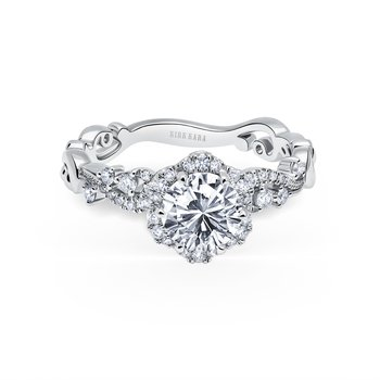 Feminine Halo Diamond Engagement Ring