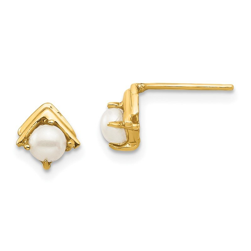 Quality Gold 14k Madi K 3-4mm White Button Freshwater Cultured Pearl Post Earrings