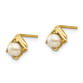 14k Madi K 3-4mm White Button Freshwater Cultured Pearl Post Earrings