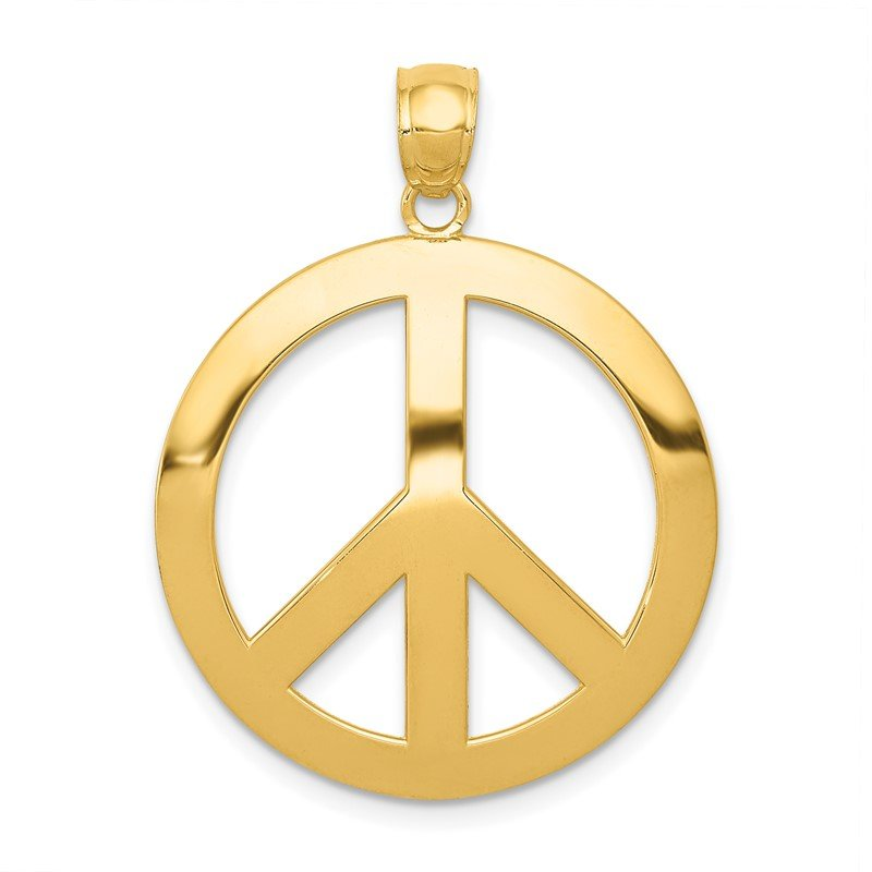 Quality Gold 14k Peace Sign Pendant