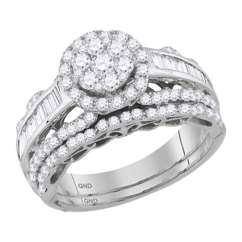 Gold-N-Diamonds 14kt White Gold Womens Round Diamond Cluster Bridal Wedding Engagement Ring Band Set 1-1/2 Cttw