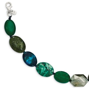 Sterling Silver Jade, Crystal, Jasper and Serpentine w/2in ext Necklace