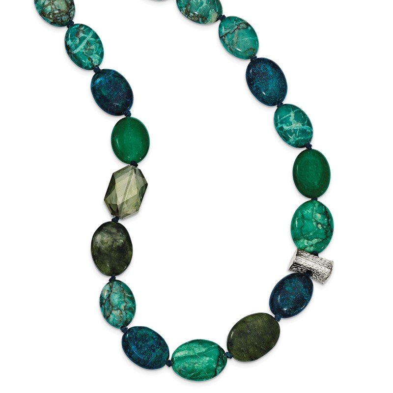 Quality Gold Sterling Silver Jade, Crystal, Jasper and Serpentine w/2in ext Necklace