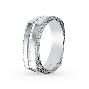 Baguette Mens Diamond Wedding Band 7mm