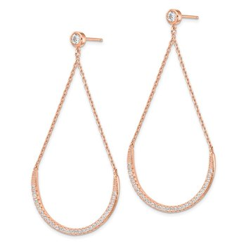 Sterling Silver Rose-tone CZ Dangle Post Earrings