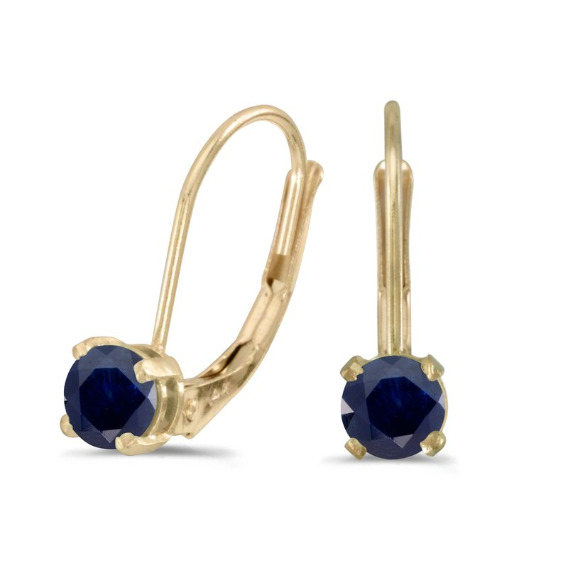 14k Yellow Gold Round Sapphire Lever-back Earrings