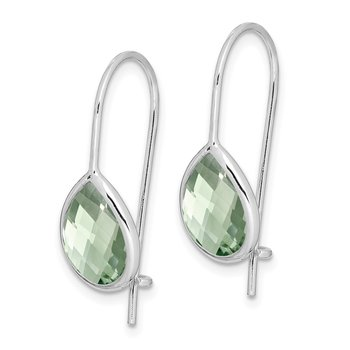 Sterling Silver Rhodium Plated Green Quartz Teardrop Earrings