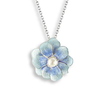 Blue Camellia Necklace.Sterling Silver-Freshwater Pearl