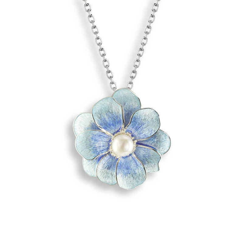 Nicole Barr Designs Blue Camellia Necklace.Sterling Silver-Freshwater Pearl