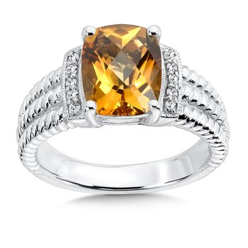 Sterling Silver Citrine White Diamond Ring