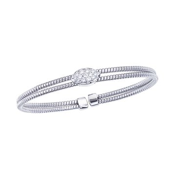 White Gold 2 Row Twisted Bangle with Diamond Station