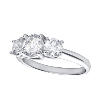 14k White Gold 1.00 Ct Three Stone Diamond Ring