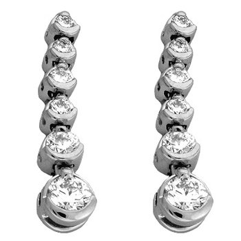 White Gold Tennis Earring