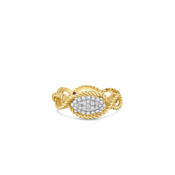 1 Row Ring With Diamonds &Ndash; 18K Yellow Gold, 6.5