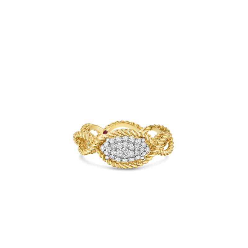 Roberto Coin 1 Row Ring With Diamonds &Ndash; 18K Yellow Gold, 6.5
