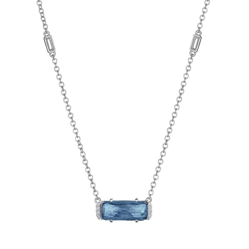 Tacori Fashion Solitaire Emerald Cut Gem Necklace with London Blue Topaz