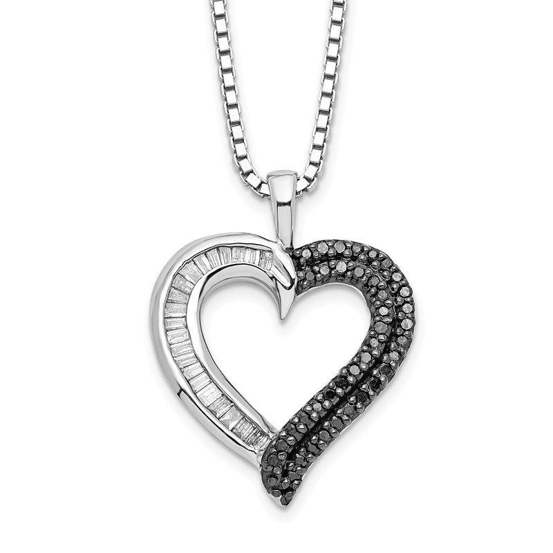 Arizona Diamond Center Collection Sterling Silver Rhod Plated Black and White Diamond Heart Pendant Necklace
