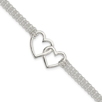 Sterling Silver Polished 3-strand w/.5in. Ext. Heart Bracelet