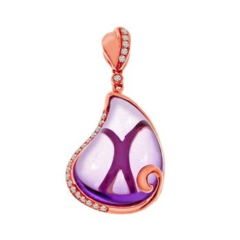14k Rose Gold Amethyst Pear Pendant