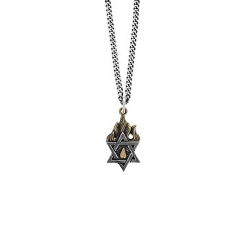 Star Of David Pendant With Gold Alloy Flames
