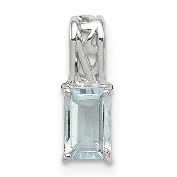 Sterling Silver Rhodium Plated Aquamarine Rectangle Pendant