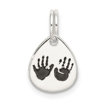 Sterling Silver Enameled Hand Print Charm