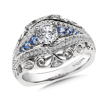 Diamond and Blue Sapphire  Engagement Ring Mounting in 14K White/Rose Gold (.36 ct. tw.)