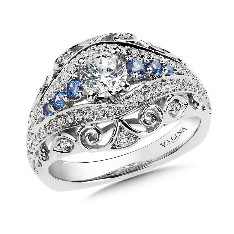 Valina Bridals Diamond and Blue Sapphire  Engagement Ring Mounting in 14K White/Rose Gold (.36 ct. tw.)