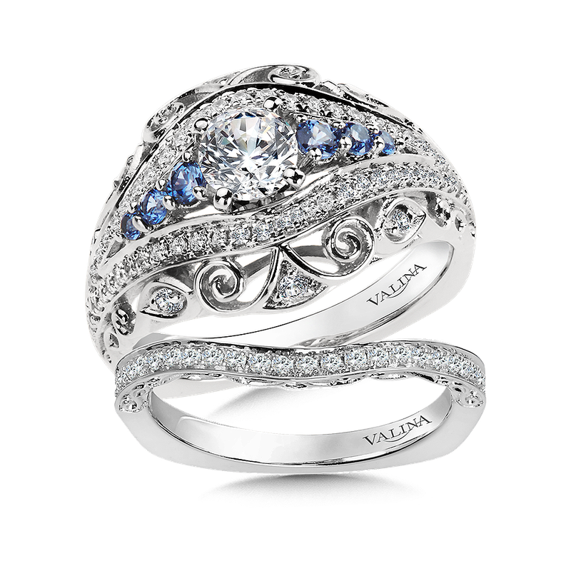 Valina Diamond and Blue Sapphire  Engagement Ring Mounting in 14K White/Rose Gold (.36 ct. tw.)