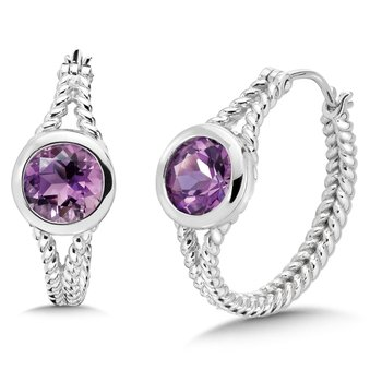 Sterling Silver Amethyst Essentials Hoop Earrings